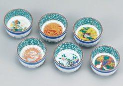 Kutani Ware Sake Cup 6 Kind Cup Set