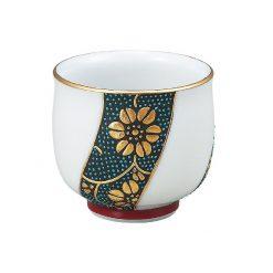 Kutani Ware Sake Cup Gold Blue Dot