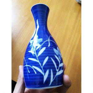 Mino Ware Sake Set Blue Bamboo Pattern