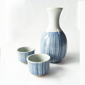 Mino Ware Sake Set Early Summer Rain