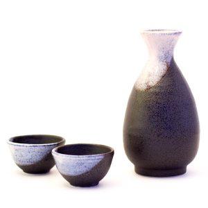 Mino Ware Sake Set Silver Black