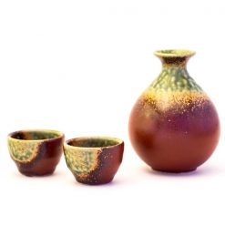Mino Ware Sake Set Red Oribe