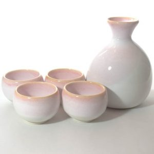 Mino Ware Sake Set Pink