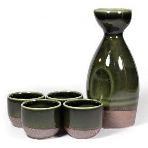 Mino Ware Sake Set Green Oribe