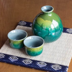 Kutani Ware Sake Set Tea Flower