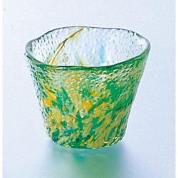 Glass Sake Cup Fresh Leaves