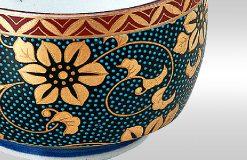 Kutani Ware Sake Cup Blue Dot
