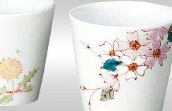 Kutani Ware Sake Cup Spring 3 Cup Set
