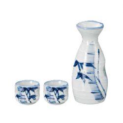 Mino Ware Sake Set White Bamboo