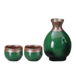 Mino Ware Sake Set Green Brown