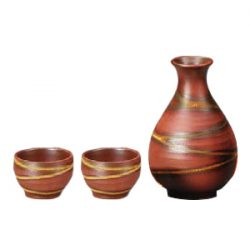 Mino Ware Sake Set Red Rust