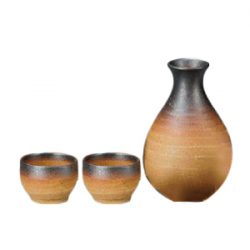 Mino Ware Sake Set Iga Brown