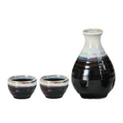 Mino Ware Sake Set Tenmoku White