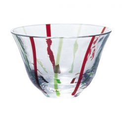 Ochoko Sake Glass Green Red Stripes