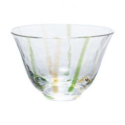 Ochoko Sake Glass Green Yellow Stripes