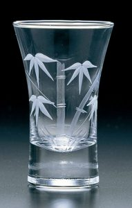 Kiriko Tall Clear Sake Glass Bamboo