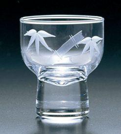 Kiriko Ochoko Clear Sake Glass Bamboo