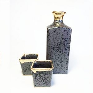 Mino Ware Square Sake Set Gold Coating