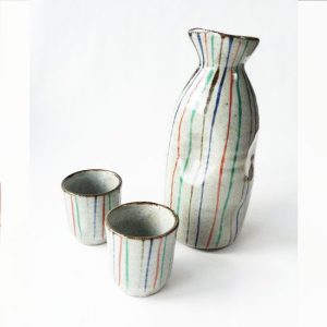 Sake Set Tokkuri Stripes Grey
