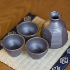 Sake Set Octagon Black 4cups