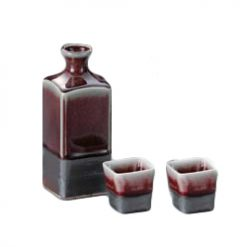 Square Sake Set Red Glaze