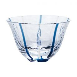 Ochoko Sake Glass Blue Stripes