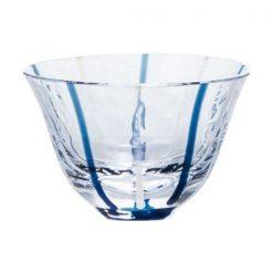 Ochoko Sake Glass Blue Stripes