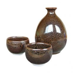Arita Ware Masterpiece Sake Set Polka Dot Brown