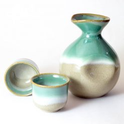 Arita Ware Sake Set Green Brown
