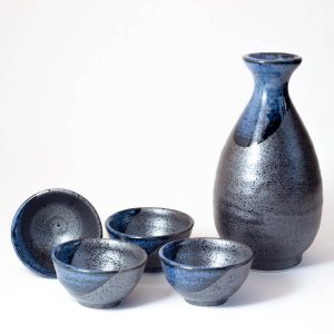 Mino Ware Sake Set Blue Stream