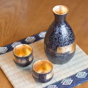 Product Details of Mino Ware Sake Set Gold Brushstrokes