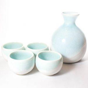 mino ware sake set light blue