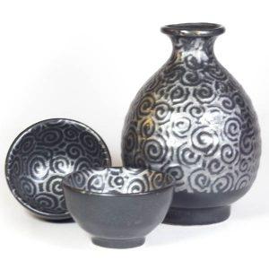 Sake Set Silver Swirl