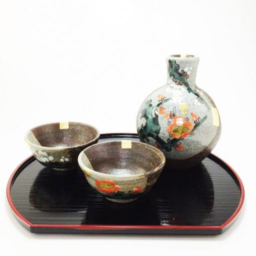 Kutani Ware Sake Set Plum White and Red