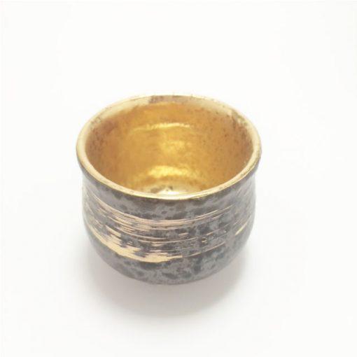 Mino Ware Sake Cup Gold Brushstrokes