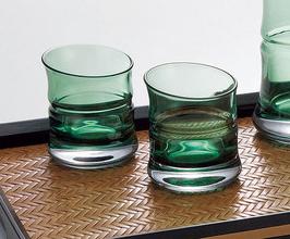 Glass sake cup bamboo