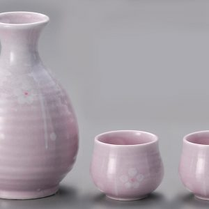 Misty Plum blossoms Sake Set White