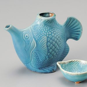 Turquoise blue fish-shaped Sake Set