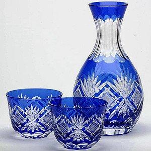Edo Kiriko Sake Set Kenbishi-Nanako pettern
