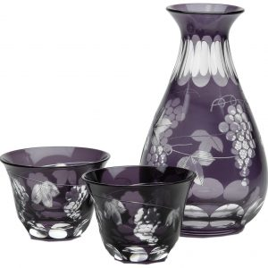 Edo Kiriko Sake Set Grape pattern
