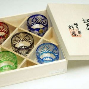 Edo Kiriko Guinomi Set Kenbishi-Star pettern