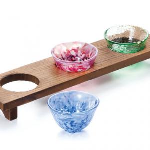 Tsugaru Vidro Sanmai 3 Sakazuki with Woodern Platform set