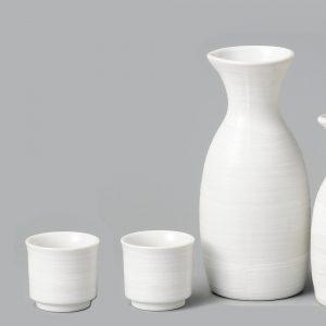 Mino Ware Sake Set White Brushstroke